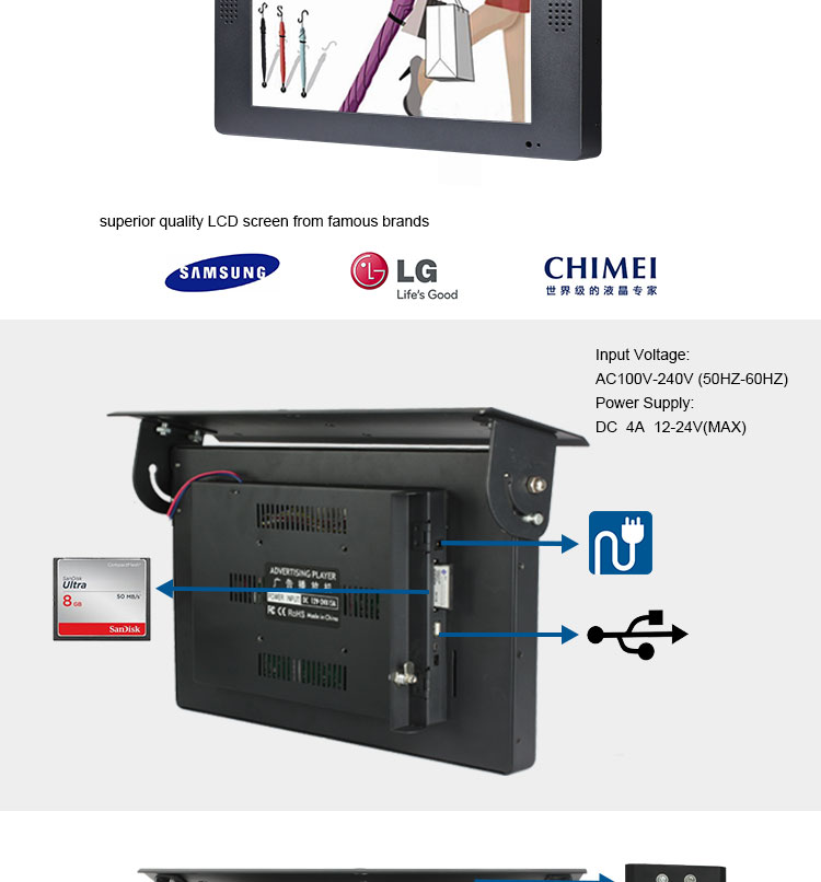 Exhibition Stand Accessories : Car tv advertising bus screen usb digital