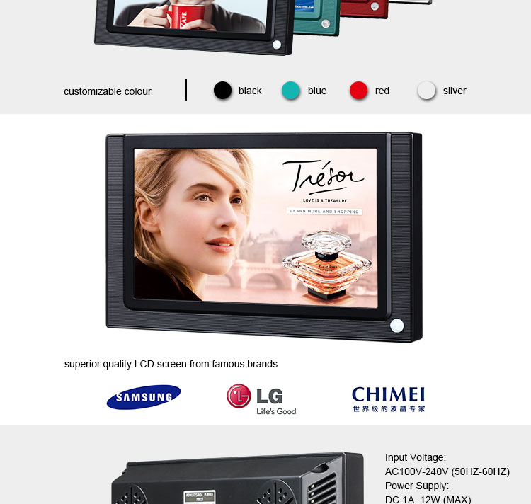 7 inch shelf mounting small digital advertising screen for