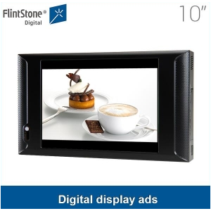 10 inch plastic casing screen and anti-theft device ,time function, supermarket video advertising player